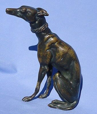 Antique Bronze  Whippet Italian Greyhound Dog  E Oudine France 8""