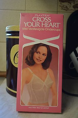 34C Vintage Playtex Cross Your Heart Longline Cotton Bra Hooks & Eyes NEW BOXED