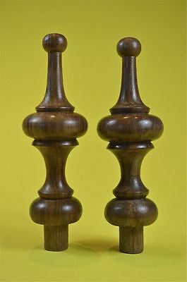 Pair of superb 5 inch antique hardwood turned finial furniture clock mirror F9
