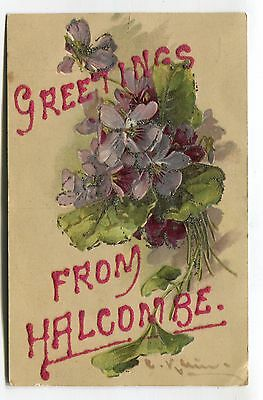 Greetings from Halcombe, New Zealand - old Christina Kleine flowers postcard