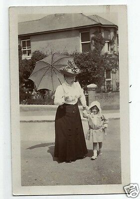 FHL Early Postcard, Edwardian (?) Lady Wearing a Fine Hat with Named Child