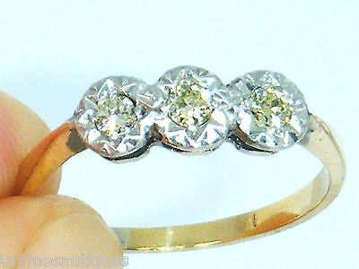 Antique 18ct Gold 18k Gold 0.15ct yellow diamond trilogy ring size K