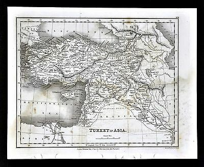 1827 Neele Map - Turkey in Asia Minor Cyprus Iraq Syria Palestine - Middle East
