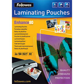 NEW! Fellowes 5452103 A4 80Mic Pouch 100pk