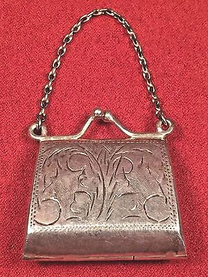 Antique Victorian Miniature Sterling Silver Clasping Purse 925 Chatelaine