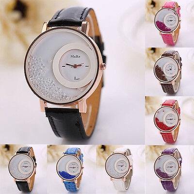 Hot Women Leather Quicksand Rhinestone Bracelet Analog Quartz Ladies Wrist Watch