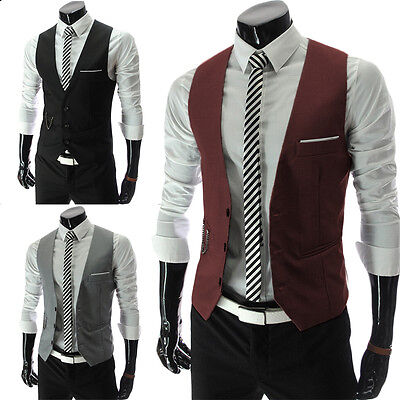 Moda Uomo Elegante Business Vestito Casual Canottiera Completo Slim Smoking