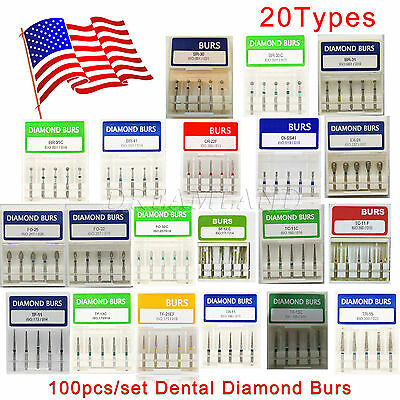 100 Pcs Dental Diamond Burs Drill For High Speed Handpiece Medium FG 1.6mm
