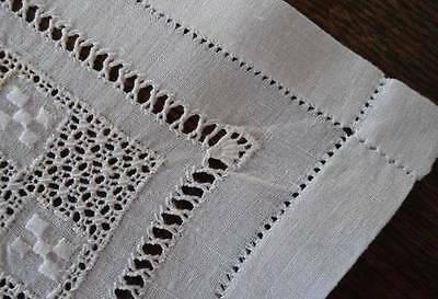 Antique Set 6 Linen Needle Lace Table Doilies Hand Embroidered Square Mat Napkin