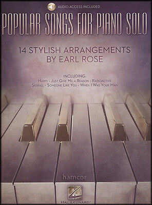 Popular Songs for Piano Solo Earl Rose Pop Sheet Music Book/DLC Audio Access