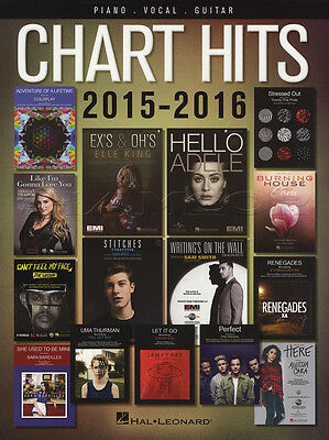 Chart Hits 2015-2016 Piano Vocal Guitar PVG Sheet Music Book Adele Sam Smith 1D