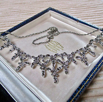 Vintage Jewellery Signed Marcasite Necklace