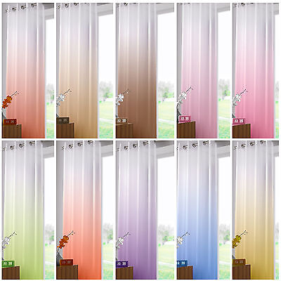 Two Tone Ombre Ring Top Sheer Voile Curtain Panel – 58x90 inches / 147x229 cm