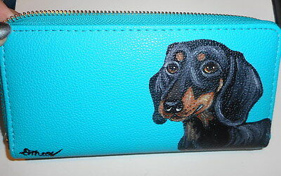 Dachshund dog Hand Painted Ladies Leather  Wallet Vegan