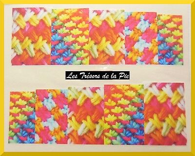 STICKERS ONGLES WATER DECAL (x10) - Nail art - Motif laine - Multicolore