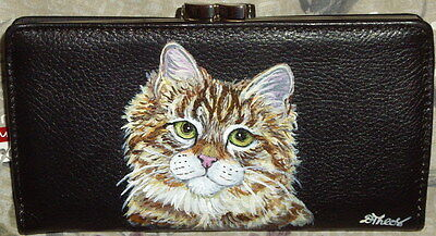 Siberian cat Hand Painted Ladies Leather Wallet