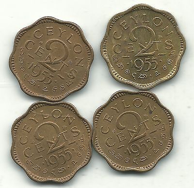 High Grade Au/unc Lot 4 1955 Ceylon 2 Cents Coins-Feb135