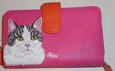 Domestic Short Hair Gray Tabby cat Hand Painted Ladies Leather Wallet