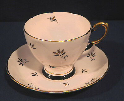 Tuscan Fine Bone China Tea Cup and + Saucer Set Pink with Gold Black Trim Retro!
