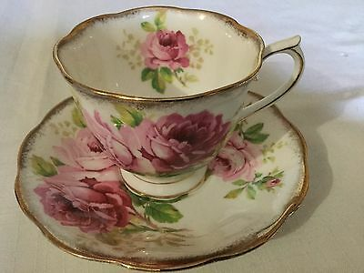 Royal Albert Bone China  Cup/saucer  England     American Beauty Pattern