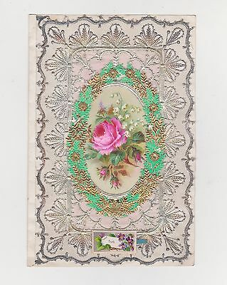 "Victorian Valentines Card, Lace Edged, ""truth"", Roses In A Flowery Frame, 1860's"
