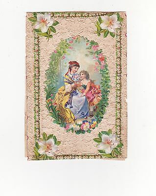 Victorian Valentines Card, Lace Edged, Mother And Child In A Flowery Frame,1850S