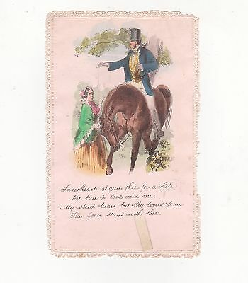 Victorian Valentines Card, Top Hatted Rider And Lady, Mobile Card, C1890's