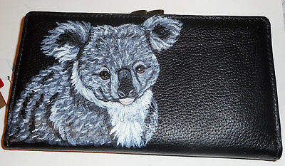 Koala Bear Hand Painted Ladies Leather  designer Wallet