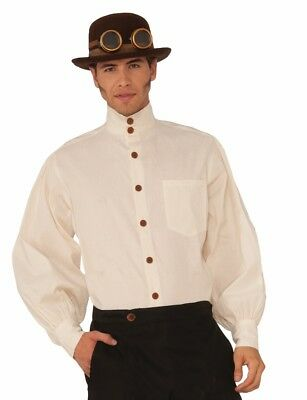 Mens Steampunk Pirate Shirt Costume Collarless Bib Front Victorian Western