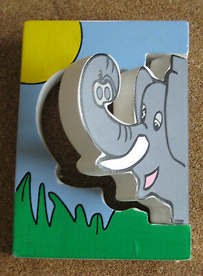 New Kids/Childrens Wooden Coat Peg/Hook Elephant With Wall Fixings