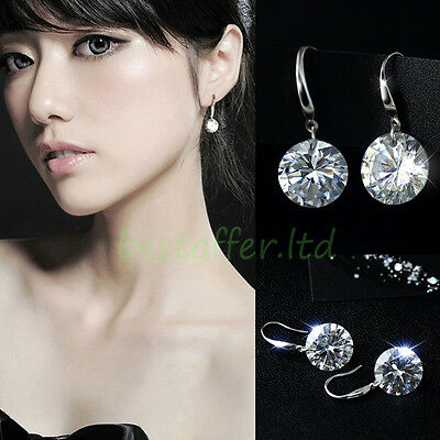 Exquisite 925 Sterling Silver Women/Girls Crystal Rhinestone Drop Dangle Earring