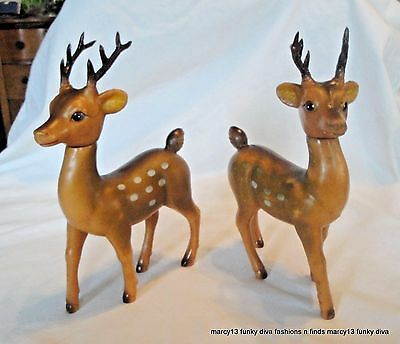 """Matched Pair Vintage  Plastic  Christmas Reindeer  9"""" Tall w Moving Heads"""
