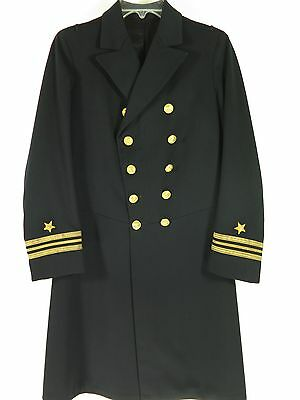 Vintage 20s 1923 Navy Frock  Coat PeaCoat Mens XS Military Wool Gold Buttons