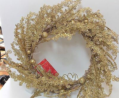 """NWT 24"""" Pre-Lit Beaded Gold Wreath by Home Accents"""