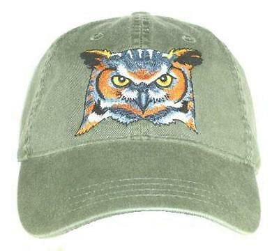 Great Horned Owl Embroidered Cotton Cap NEW