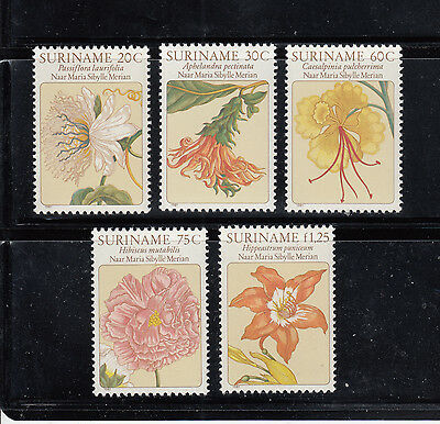 Suriname 1981 Flowers Sc 563-567 complete mint never hinged