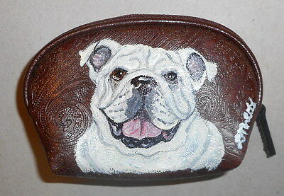 English Bulldog Bulldog Hand Painted Leather Coin Purse Vegan