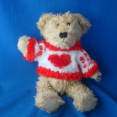 "MTY International Valentine's Day 14"" plush bear with knit sweater"