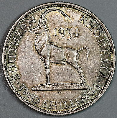 1934 SOUTHERN RHODESIA Key Date Silver 2 shillings Sable Antelope Coin 16051230R