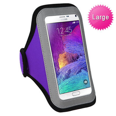 Gray Purple Sports Gym Running Jogging Walking Armband Case Phone Holder Strap