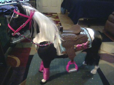 """Our Generation Horse for American Girl 18"""" BLACK & WHITE PAINT HORSE"""