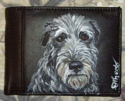 Scottish deerhound Dog Hand Painted Bifold Leather Wallet for Men