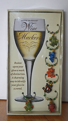Brand New Boston Warehouse® Wine Markers Little Frog Charms To Place Around Stem