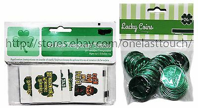MOMENTUM* St Patricks PARTY FAVORS Clover COINS+TEMPORARY TATTOOS *YOU CHOOSE*
