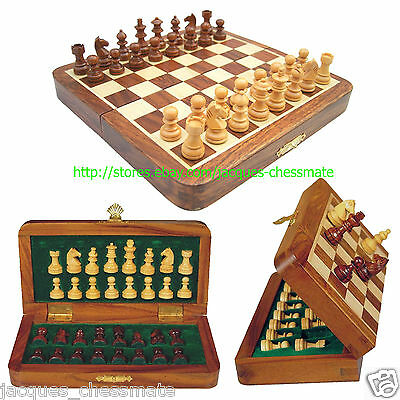 "New 7"" Handmade Top Quality Magnetic Wooden Chess Set- Gift Item"