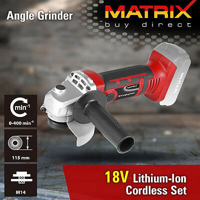NEW MATRIX 18v Cordless Angle Grinder Kit Lithium Battery & Charger Power Tool