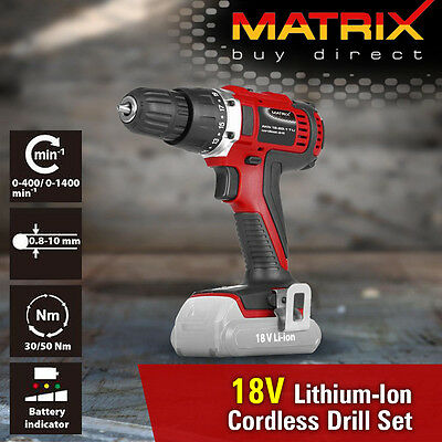 NEW MATRIX 18V Cordless Drill Kit Lithium Rechargable Battery Charger Power Tool