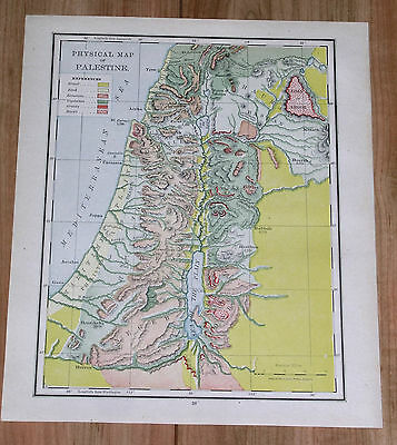 1910 Original Antique Physical Map Of Palestine Israel Holy Land Bible