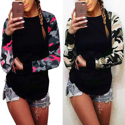 ISASSY Womens Casual Camouflage Sleeve Tops Shirt Ladies Loose T-shirt Blouse