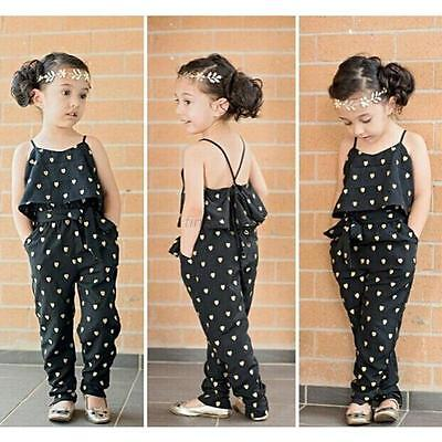 Kids Baby Girls Summer Heart Pattern Jumpsuit Romper Trousers With Belt Outfits